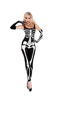 Frauen Sexy Skelett Jumpsuit Kostüm (M)