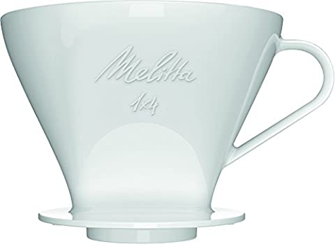 Melitta Porte-Filtre en Porcelaine, Jusqu'à 10 Tasses de Préparation, Adapté aux Filtres à Café de Taille 1x4, Blanc