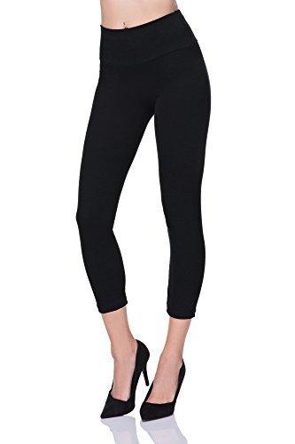 futuro fashion abgeschnitten 3/4 Länge hohe Taille Leggings Bedienfeld aktiv-hose lwp34 - Schwarz, 42