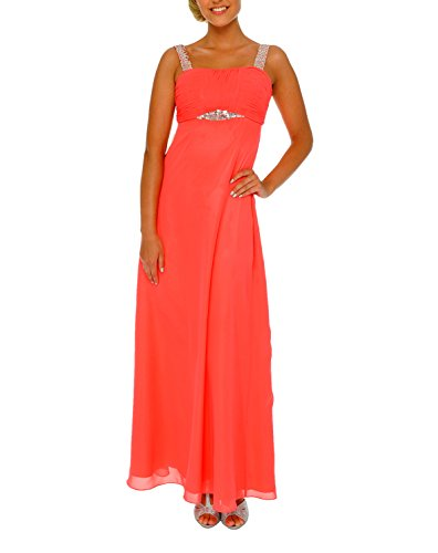 Astrapahl Damen Cocktail Kleid mit Pailletten, Maxi, Einfarbig, Gr. 38, Rosa (Koralle)