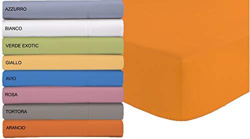 Tata home lenzuolo sotto in microfibra con angoli ed elastico misura letto 1 piazza e mezzo cm 140x200 altezza materasso cm 24 colore arancio