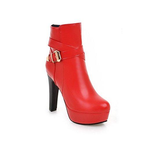 Botas Alto Zipper Toe Rodada Vermelho Senhoras Agoolar Salto De Couro Pu Cx7qXTngw6
