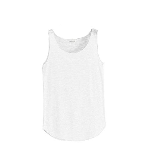 Damen Sommer T-Shirt Tank-ärmellos Rundhals lose Singlets Vest Tank Top Unterhemd Crop Top Sport Weste Super Weich Trägertop Damenblusen Freizeithemd Basic Hemd (Weiß) (Satin Cami Bestickte)