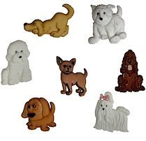 1 x Pack of Novelty Craft Buttons, Puppy Parade, Dress it up, for Sewing, Scrapbooking, Embelishments, Crafts, Knitting, by The Bead and Button Company -