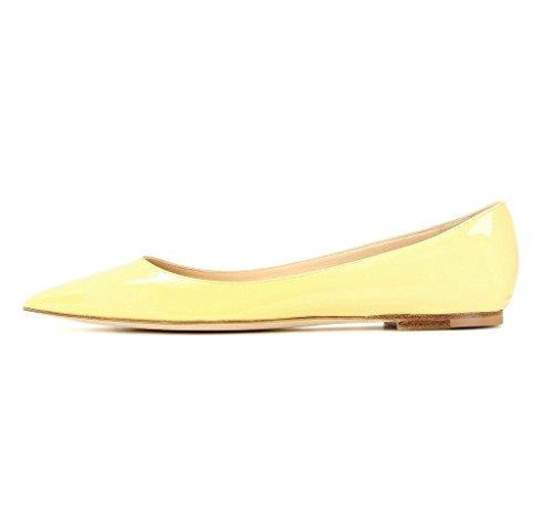 EDEFS - Ballerines Femme - Bout Pointu Chaussures - Confort Plat Femmes - Gold ou Noir ou Beige Jaune