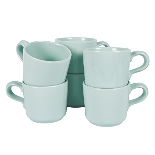 6-er Set Tassen Riva Soft Mint Grün Kaffeebecher Shabby Chic Landhaus 200ml (Tasse (6er - Set))