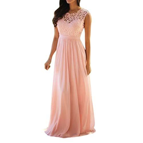 Mounter Damenkleid, ärmellos, Chiffon-Spitze, elegant, Korallen-Druck, Brautjungferkleid, Brautjungfernkleid, Hohles Hochzeitskleid, Elegantes Kleid XL Rose