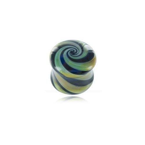 Plug épaulé in pasta di vetro Vortex Blue Moon-Diametro 8mm - Blue Moon Vetro