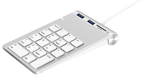 USB Numerisches Keypad, Alcey Aluminium-Finish USB Numerisches Keypad mit USB 3.0-Hub und SD/TF-Kartenleser Kombo