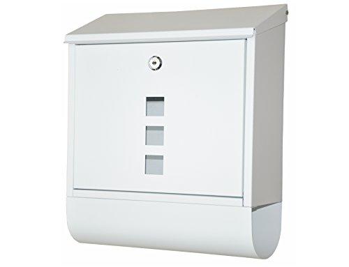 """Preisvergleich Produktbild nanook """"Piazza"""" Briefkasten weiß - pulverbeschichtet - mit Zeitungsfach - 38, 5 cm - für große Briefe und Zeitschriften"""