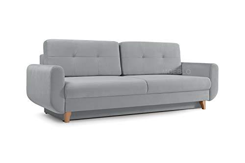 mb-moebel Modernes Sofa Schlafsofa Kippsofa mit Schlaffunktion Klappsofa Bettfunktion mit Bettkasten Couchgarnitur Couch Sofagarnitur 3er Saphir (Hellgrau)