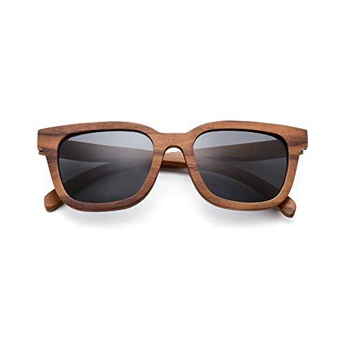 Entwickelt Nussbaum (YLZERO Vintage Schwarz Nussbaum Holz Sonnenbrille Frauen Retro Polarisierte Männer Sonnenbrille Strand Hochwertige Brillen männlich)