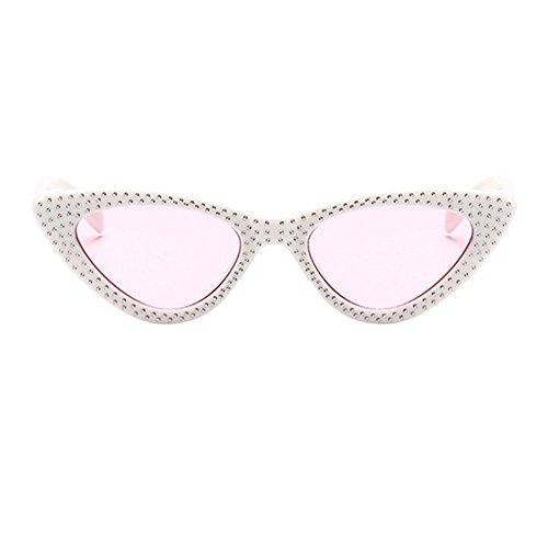 Deylaying Sonnenbrillen für Damen,Dreieck Cat Eye Strass Schmetterling Gespiegelte flache Linsen Kunststoffrahmen Sonnenbrille Stil Brille Retro Vintage