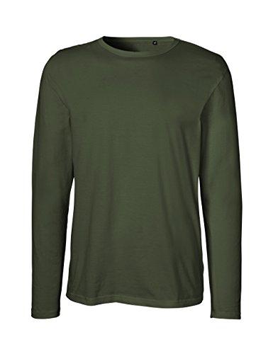 Green Cat- Herren Langarm T-Shirt, 100% Bio-Baumwolle. Fairtrade, Oeko-Tex und Ecolabel Zertifiziert, Textilfarbe: Oliv, Gr.: XXXL
