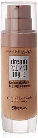 Maybelline New York Dream Radiant Liquid - Base de Maquillaje Líquida, Tono Miel claro (045 Light honey), 30 m
