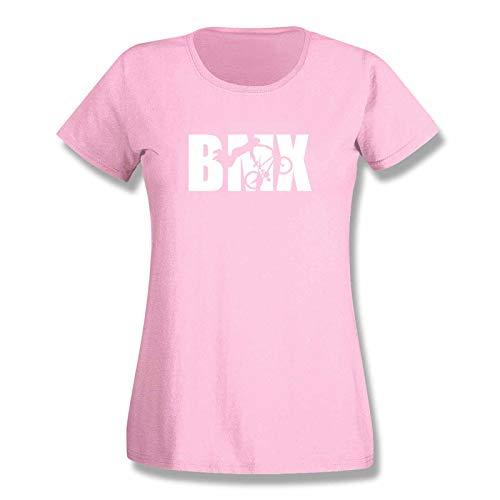 T-Shirt BMX Bike Freestyle Biken Jumps Dynamics DK Ramp Dirt Felt Halfpipe Pipe Race Vans Dirt 15 Farben Damen XS-3XL, Größe:L, Farbe:rosa/Light pink - Logo Weiss
