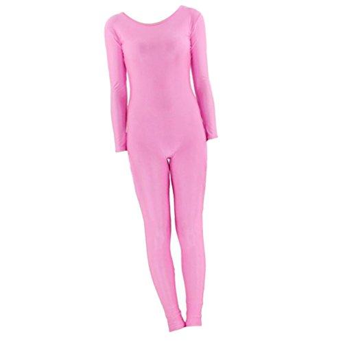 B Baosity Herren Damen Second Skin Kostüm Ganzkörperanzug Langarm Bodysuit Overall Ganzkörperkostüm - Rosa - Rosa Bodysuit Kostüm