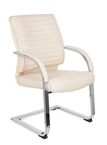 Besucher-Stuhl Schwinger-Stuhl VISITER CL120 Kunst-Leder Creme-Weiß, Freischwinger-Sessel,...
