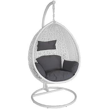Eleganter Polyrattan Sitzkorb / Schwebesessel mit Ständer