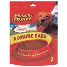 6 Raw Hide Ears Smoky Flavour/2 Packs of 3