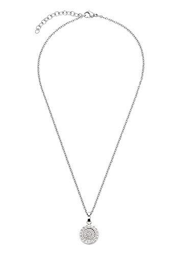 amen-Halskette Matrix Lusso, Edelstahl mit klaren, geschliffenen Kristallen und LEONARDO-Gravur, Länge 400 mm, 015675 ()