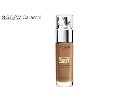 L'Oréal Paris - Fond de Teint Fluide Accord Parfait - Peaux Sèches à Normales - Teinte : Caramel (8.5.D) - 30 ml