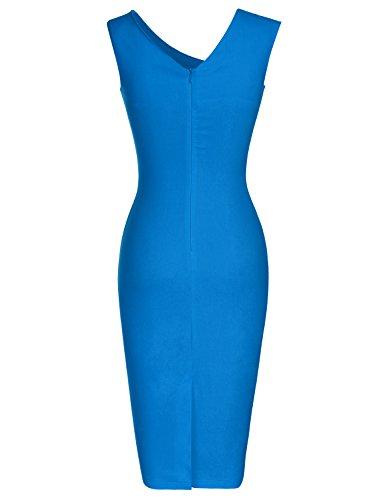 MUXXN Damen Bleistiftkleid V-Ausschnitt Etuikleid Ärmellos Knielang Retro Abendkleid Business Kleid Bright Blue