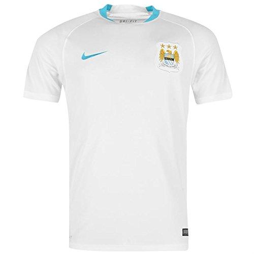 Nike Mcfc Flash Ss Top-Canottiera Manchester City 2015/2016, da uomo, UOMO, Blanco / Azul (White/White/Chlorine Blue/Chlorine Blue), XXL