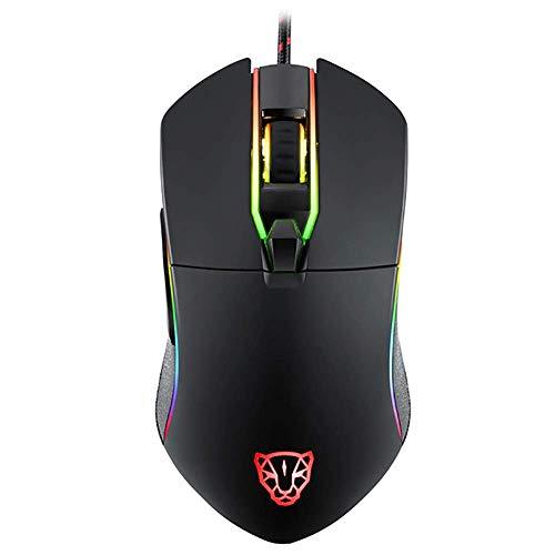 E-Sports Maus, 20 Millionen Life DPI3500 (6 Tasten), beleuchtet, kabelgebunden, für Spiele und Büro, Schwarz