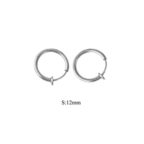 2 Pcs Fake Stud Earrings Clip On Piercing Body Nose Lip Rings Hoop Earrings Hypoallergenic Body Jewelry for Women Men Girls (Silver, S) JNG ✦【Simple Small Hoop Earrings Set】✦1 Pairs premium quality hypoallergenic earrings,silver and gold color, Small: 12mm diameter,Medium: 14mm diameter,Large: 16mm diameter ,multi-size meet your daily needs. ✦【Material】✦ Stainless Steel.Don't worry about the irritation and rashes. ✦【Multi-Purpose to Wear】✦The endless small hoop earrings set can be used for cartilage, nose, lips, ears and body piercings for single or multiple holes. 2