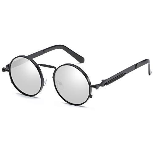 Kennifer Retro Steampunk Style inspiriert Runde Metall Kreis Sonnenbrille für Frauen und Männer