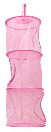 Faltbare Drei Schicht Wäsche Spielzeug Baskets Home Storage Hängetaschen 3 Farben (pink)