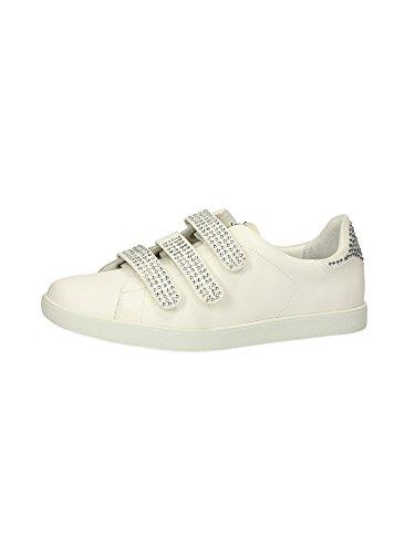 Jo Sneaker Velcri Con Damen Strass Execução Aura Em Leder Branco Liu E7qxUFnq6