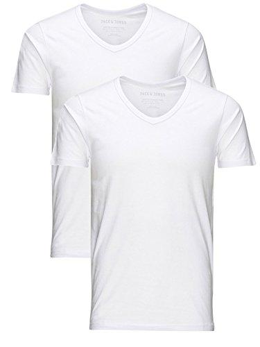 JACK & JONES Herren 2er Pack T-Shirt Basic V-Ausschnitt 12059219 Weiß (Opt White)