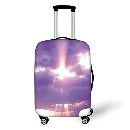 Travel Luggage Cover Suitcase Protector,Sky Decor,Sunburst on Cloudy Sky Rainy Weather Romantic View Decorating Picture,Purple White,for Travel,M -