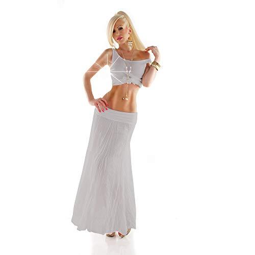 Fashion Italy Crinkle Maxirock aus Baumwolle Langer Leichter Sommer Rock Hüftrock hell grau 34-40