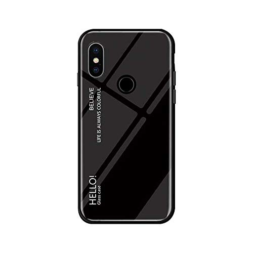 Funda Xiaomi Mi Mix 3 Vidrio Templado,Ultra Fina TPU + Cristal Templado Cubierta Trasera Carcasa Gradiente de Color es Durable para Xiaomi Mi Mix 3 (Xiaomi Mi Mix 3, Negro)
