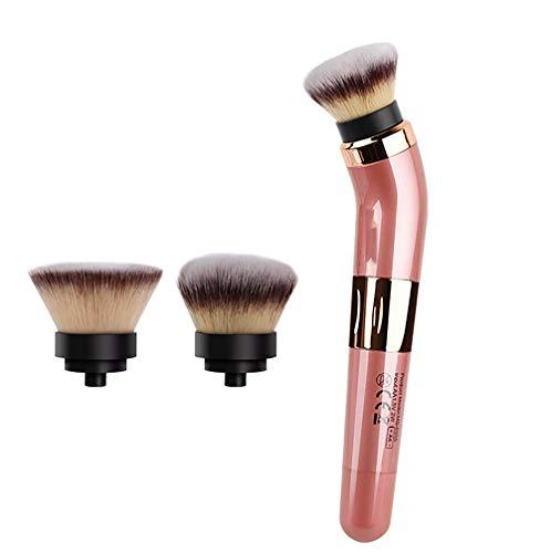 Electric makeup brush 2 Speed, USB wiederaufladbare 360 ° rotierende Kosmetik Pinsel mit Replaceable Foundation Powder Brush Head, Contouring und Airbrush Finish (Powder Brush Finish)