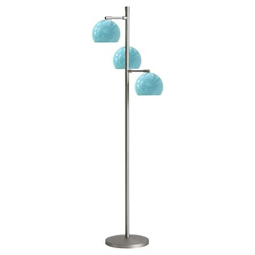 Lámpara de piso vertical de la sala de estar del dormitorio de la paleta de atenuación LED, moda minimalista Estudio de comedor de metal ajustable de forma giratoria 3 * E27 luces de piso (blanco, neg