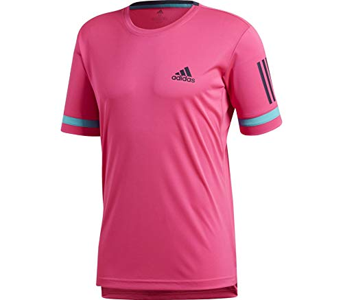 Adidas 3-stripes club, t-shirt uomo, shock pink, fr : s (taille fabricant : s)