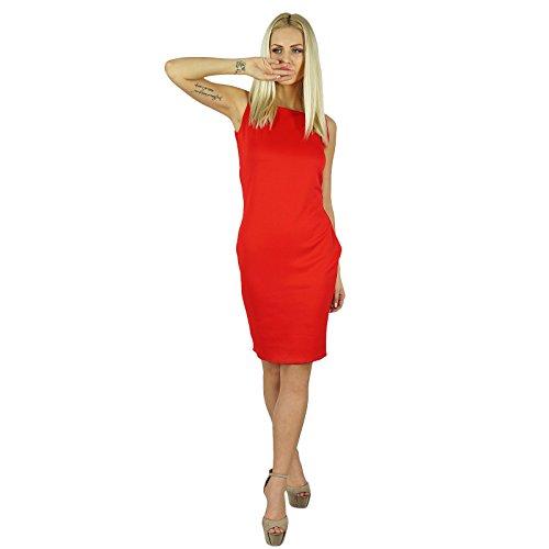 Bimba Frauen, figurbetontes Kleid über Knie-Sleeveless Abschlussball-Kleid Rot