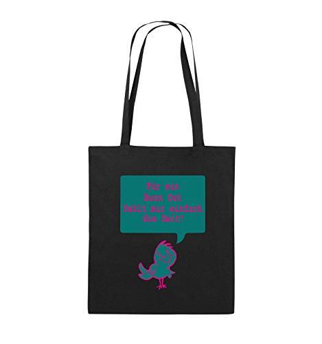Comedy Bags - Für ein Burnout fehlt mir einfach die Zeit! - Jutebeutel - lange Henkel - 38x42cm - Farbe: Schwarz / Weiss-Rot Schwarz / Pink-Türkis