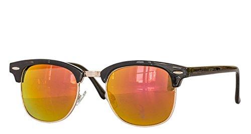Retro Sonnenbrille Clubmaster clubma Vintage Sonnenbrille (4 schwarz - orange verspiegelt)