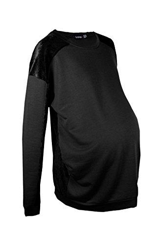 Noir Femmes Verity Sweat De Grossesse Contrasté En Velours Noir