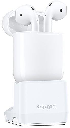 AirPods Ladestation, Spigen [Patent Angemeldet] [Kompakt] Airpods Stand Airpods Halterung Die Aufladehalterung für Airpods ist Kompatibel mit Nur authentischem Kabel - S313 White