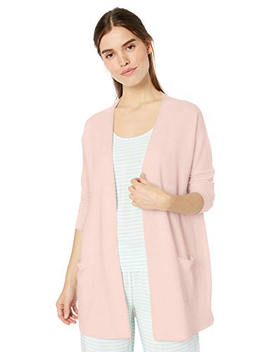 Amazon Essentials Women's Lounge Terry Open-Front Cardigan Sleepwear, Light pink, Medium