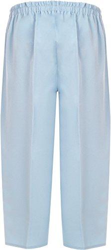 WearAll - Grande taille zip bouton élastique 3/4 pantacourt - Pantalons - Femmes - Tailles 40 à 52 Ciel Bleu