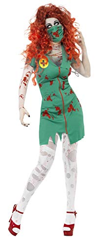Fun Zombie World Kostüm - Smiffys Damen Zombie-OP Schwester Kostüm, Kleid und Maske, Größe: L, 24373