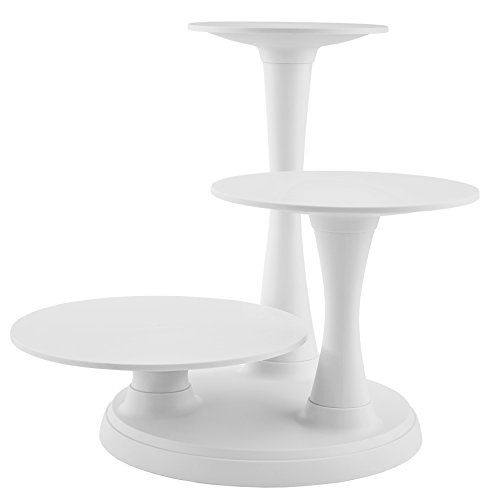 3-tier pillar-style cake stand brings dramatic height to special-occasion treats;Sturdy, off-white plastic construction blends beautifully with surrounding decor;Includes 15-3/4-inch-diameter base and 10-, 12-, and 14-inch plate supports/plates;Also ...