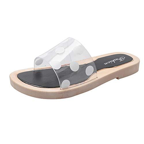 Sandalen Damen Home Hausschuhe Sommer Bohemia Schuhe Frauen transparentes Wort mit flachen Hausschuhen Wellen Punkt tragende Strand Sandelholz Schuhe